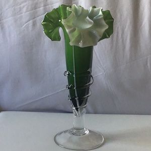 Other - Ruffles Fluted Green Footed Glass Vase